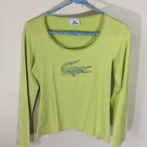 Lacoste Crocodile logo lime green long sleeve top